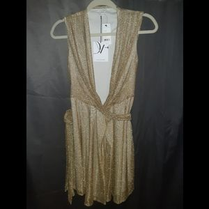 DVF Gold Wrap Dress NWT size 2